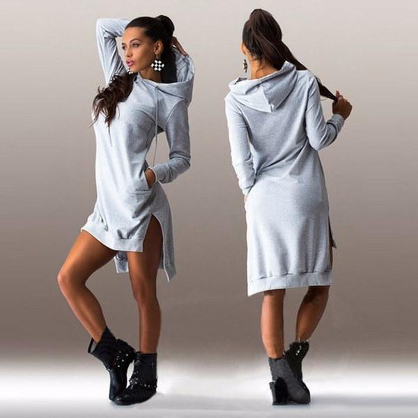 新しいファッション女性ソリッドカラースプリングロングスリーブトップレディースパーカージャンパーポケットセーター不規則