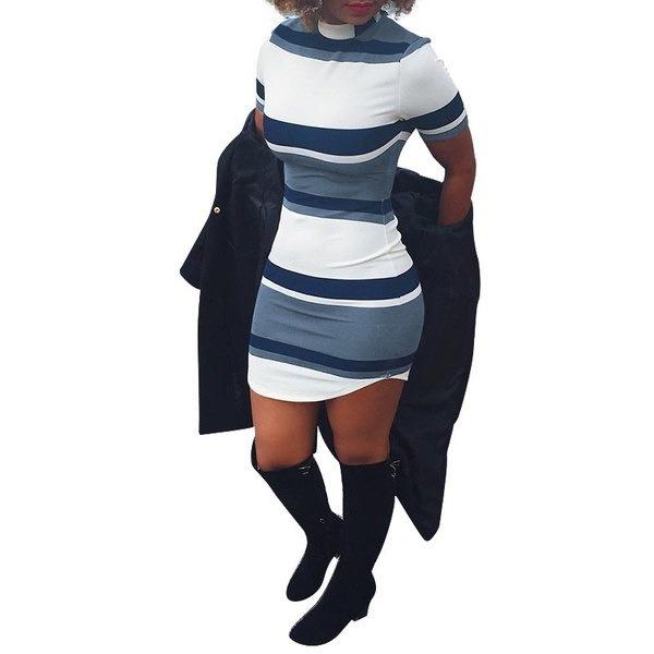 ファッションストライププリントタイトミニドレス