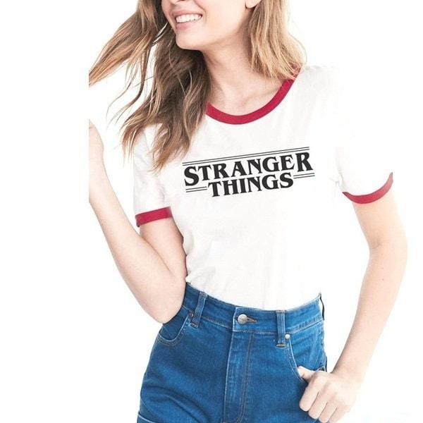STRANGER THINGSレディースホワイトTシャツレタープリント半袖夏ファッションスポーツTシャツ