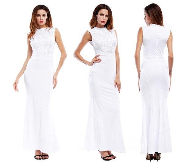 ファッション女性エレガントスリムブラックマキシドレスノースリーブパーティーロングドレス3色