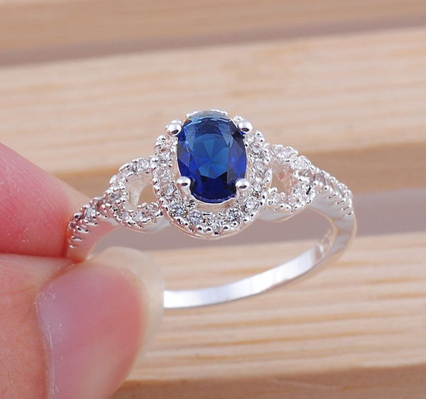 ファッションジュエリー楕円形のサファイア宝石925スターリングシルバーリングサイズ7 8 9 FA39