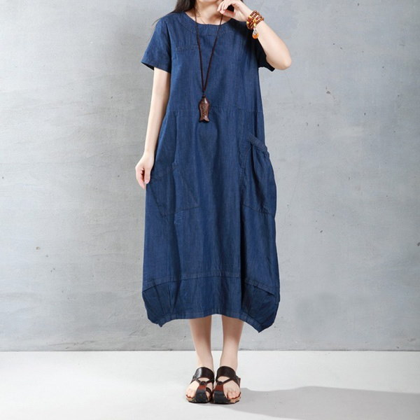 プラスサイズS-5XLヴィンテージ女性Kleidローブデニムジーンズは、半袖チュニックバギーロングマキシドレスを見てT