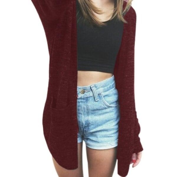 女性長袖セーターニットカーディガンルーズポケットセーターアウトジャケットコート