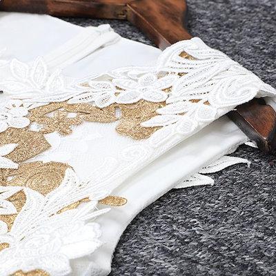 エレガントな形のフックフラワーレースホワイトマキシドレス