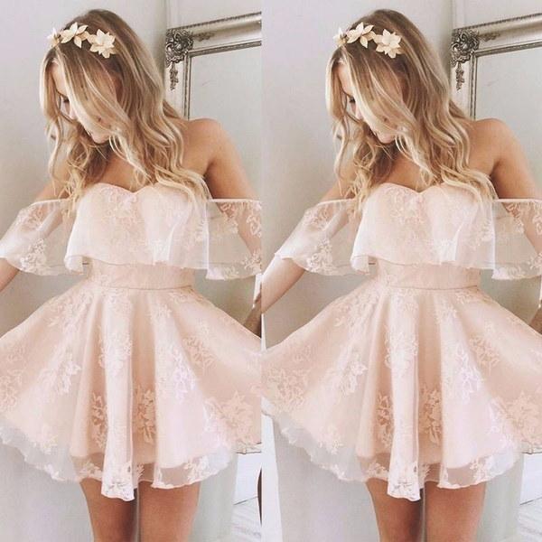 ファッションレディースドレスレースショートドレスウエディングレディースイブニングパーティーカクテルブライドメイドウェディングドレス
