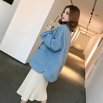 2018秋と冬模倣カシミヤスモッグブルーの小さな男の新しい韓国語版茧コート女子学生緩い薄いコート