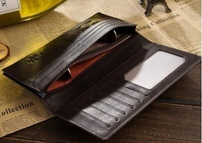 Male genuine leather medium-long cowhide wallet/men s suit bag, balck and coffee color to choose (Co