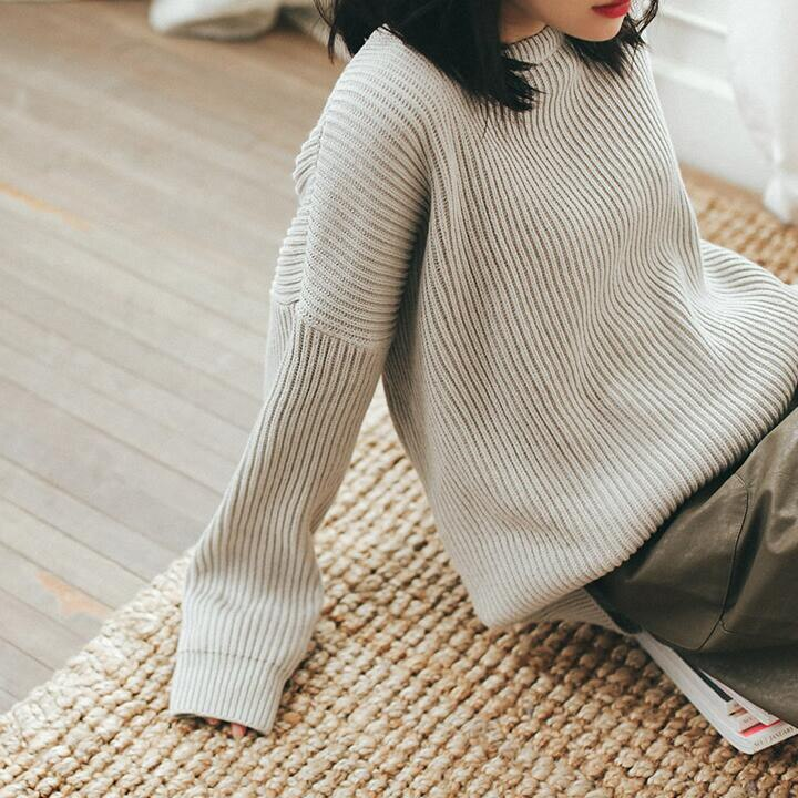 [55555SHOP]ベーシックデザインルーズフィットニット★ 秋ニット ルーズフィット オーバサイズニット レディースニット 韓国ファッション テラコッタ