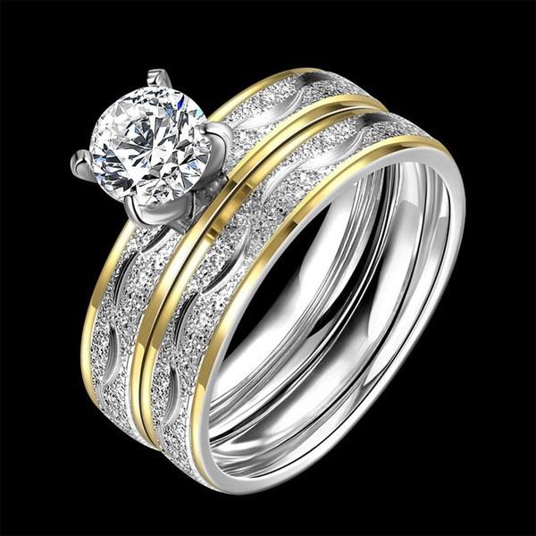 女性の男性のための新しいファッションジルコンダブルリングチタン鋼の結婚指輪