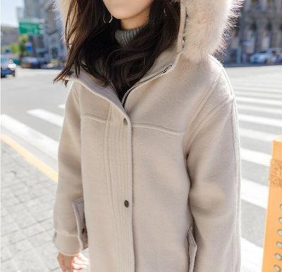 トレンド 売れ筋 ロングコート アウター フード ファー 比翼 ジップアップ 上品 カジュアル 着まわし 定番 オフィス 通勤 女子会 デート hf0382