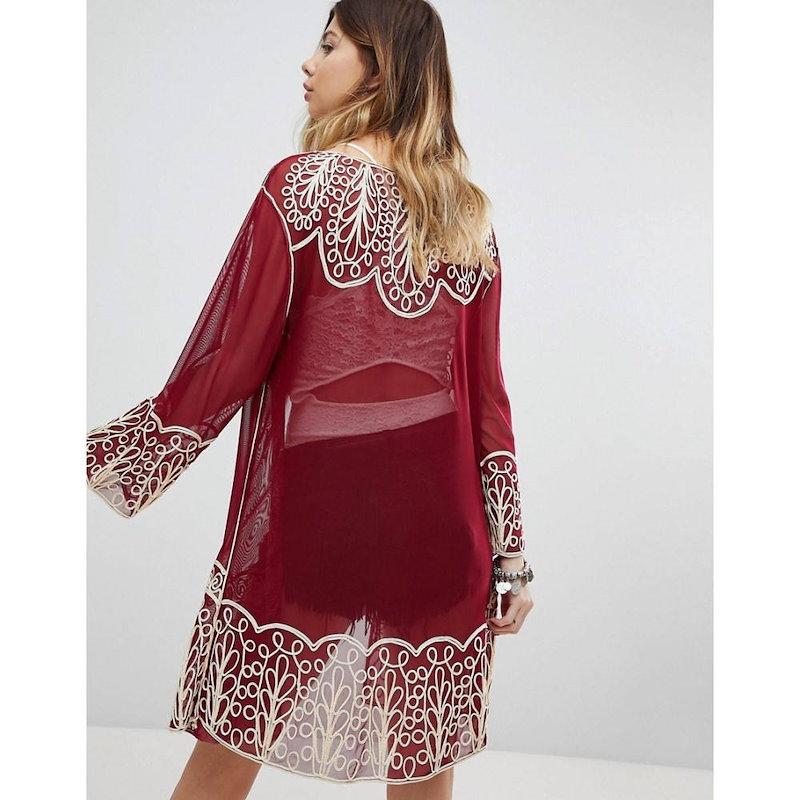 セイクリッド ホーク レディース トップス【Sacred Hawk Embroidered Kimono】Burgundy