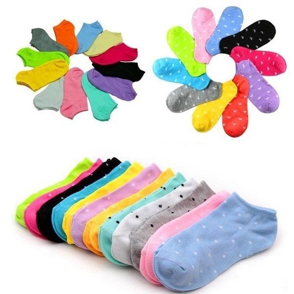 10Pairs = 20Pcs夏の冬の春秋女性かわいい靴下スリッパボートソックスキャンディーカラーコットンS
