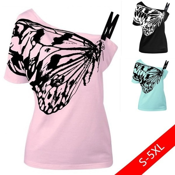 New Women Fashion Short Sleeve Off Shoulder Skew Collar Butterfly Print Casual T-Shirt