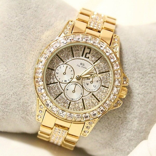 ファッション女性のクォーツ腕時計ラインストーンダイヤモンドカジュアル腕時計レディースシルバーゴールドウォッチFAの