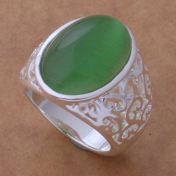 クリスマスの卸売925純銀製の結婚式の結婚指輪AR243(色:グリーン)