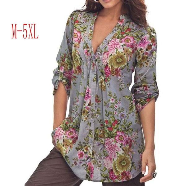 ヴィンテージ花柄プリントVネックチュニックトップスレディースファッションプラスサイズトップスシャツ