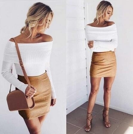 Off Shoulder Elastic Winter Pullover Sweater Women Sexy Bodycon Knitwear Top