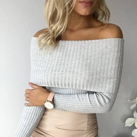 Off Shoulder Elastic Winter Pullover Sweater Women Sexy Bodycon Knitwear Top