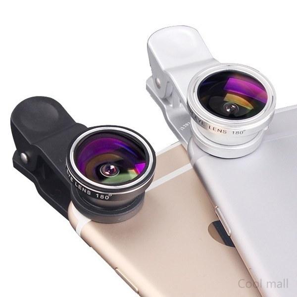 携帯電話用カメラレンズキットフィッシュアイレンズ+ 2 in1マクロレンズ&ブラックワイドレンズ付きスーパーワイドアングルレンズ