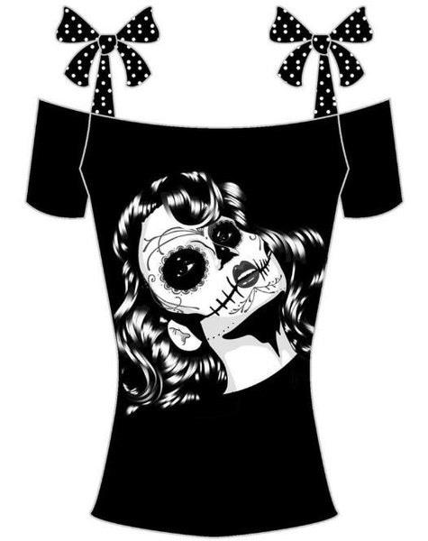 女性のファッションショルダーボートネックライン包帯オフスカル印刷コットンTシャツS  -  5XL ZH5272