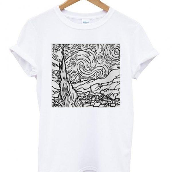 Starry Night Outline Van GoghアートグラフィックTシャツユニセックスTumblrファッションホワイトティーカジュアルトップス