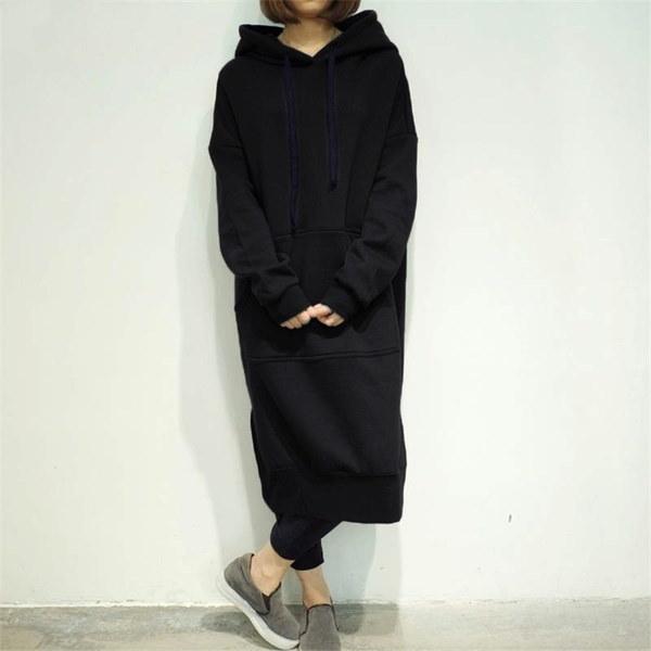 ビッグサイズの女性ファッションマキシルーズフリースフード付きコートロングスウェットドレス