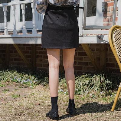 【送料無料】タイトスカート 台形スカート スカート ショート スカパン レディース スリット ベルト付き