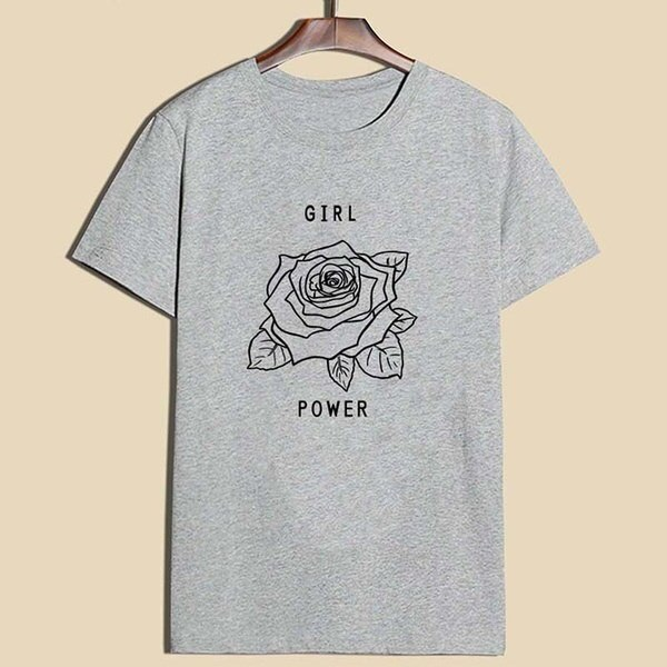 Fashion Girl Power Rose Printed T-shirt