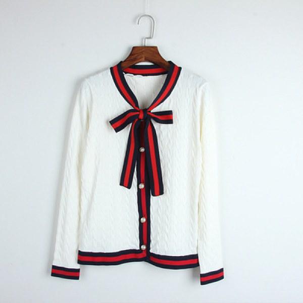 Women Ribbon-Trimmed Sweatshirt ボウタイリボンストライプパイピングセーター ジャケット カーディガン