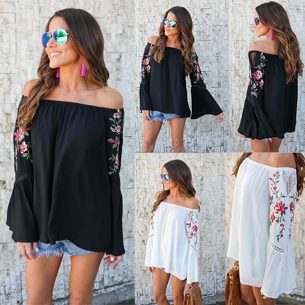 Women s Fashion Off the Shoulder Floral Embroidery Long Bell Hollow-out Sleeve Tops Blouse For Women