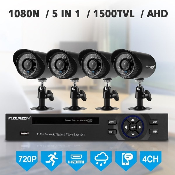 FLOUREON 1 X 4CH 1080N AHD DVR + 4 X屋外1500TVL 1.0MPカメラセキュリティキットUS(サイズ:USプラグ)