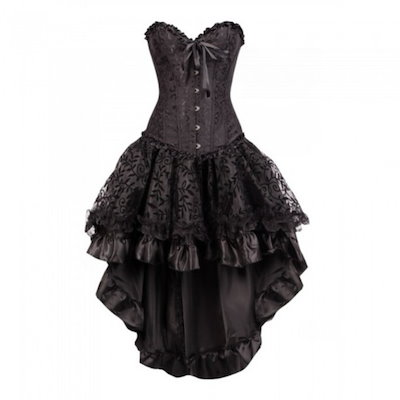 ブラックビンテージプリントストラップレスビスチェドレスBurlesque衣装Victorian Steampunkコスチュームゴシックコルセットドレス(女性用)