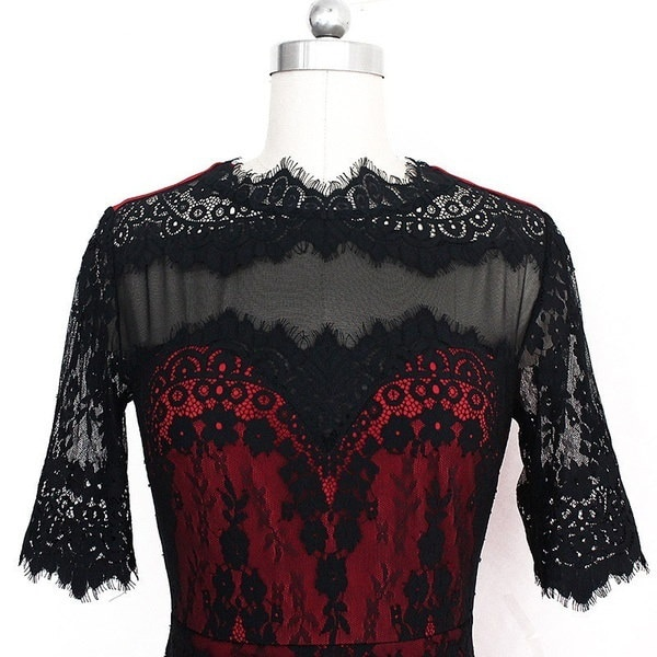 女性のエレガントなビンテージの半袖レースの花のパッチワークはビジネスカジュアルパーティーBodycon Shを働くために着用してください