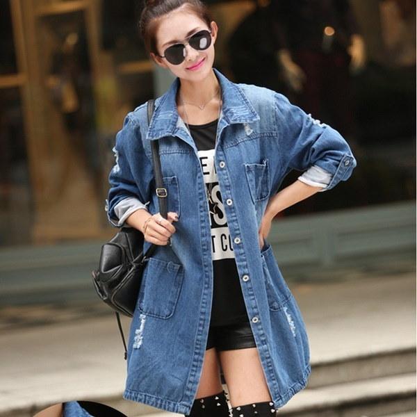 女性春と秋韓国スタイルルーズな壊れた穴デニムコートジーンズジャケットS-5XL