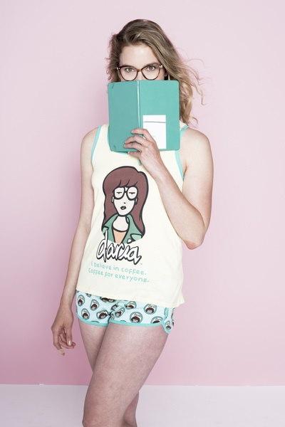 MTVジュニアレディースファッションダライアグラフィックタンク&ボクサーパジャマパジャマPJセット、米国サイズXS-XL