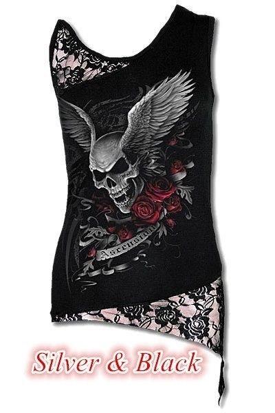 レディースファッションパンクスタイルノースリーブレースパッチワークTシャツトップS-5XL ZH5090印刷