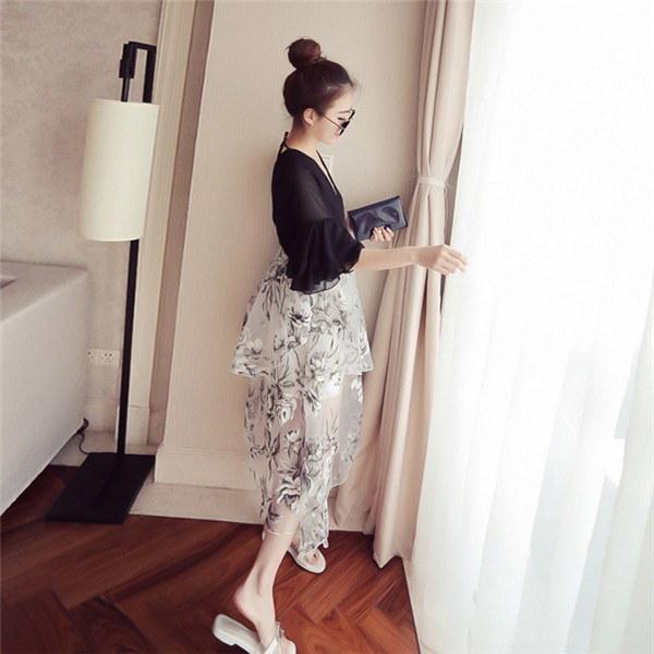 送料無料!!!レディースワンピース 韓国無地 スリム 韓国のファッション 上品  学院? Vネックシフォンワンピース プリントワンピース  ハイセンス 着心地いい おしゃれ 夏 スリム セール★ レディースワンピース