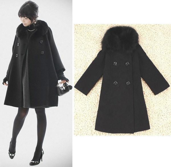 フォックスファー襟 ロング丈ポンチョコート Aライン ウールコート ブラック上質ダッフルコート