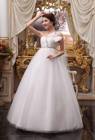 The wedding of pregnant women shoulder Korean high waist wedding dress bandage new models of 2015 pregnant women slim waisted dress