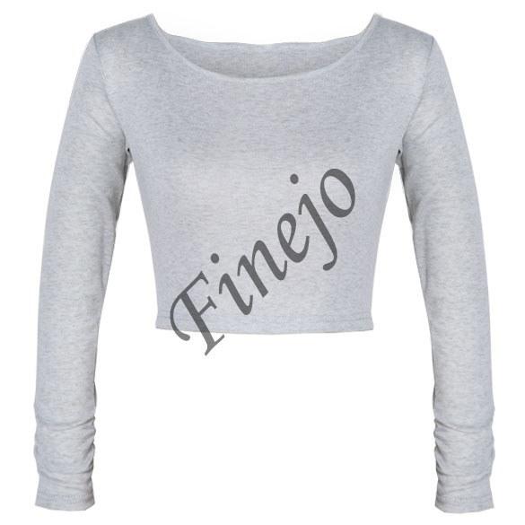新しいヨーロッパの女性のトップスレディース長袖の作物のトップラウンドネックTシャツSV007658