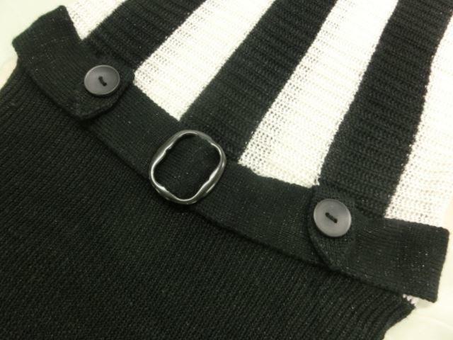 Janiss/ジャニス 長袖 Uネック ドルマンニットセーター F ブラック×ホワイト ストライプ柄【中古】