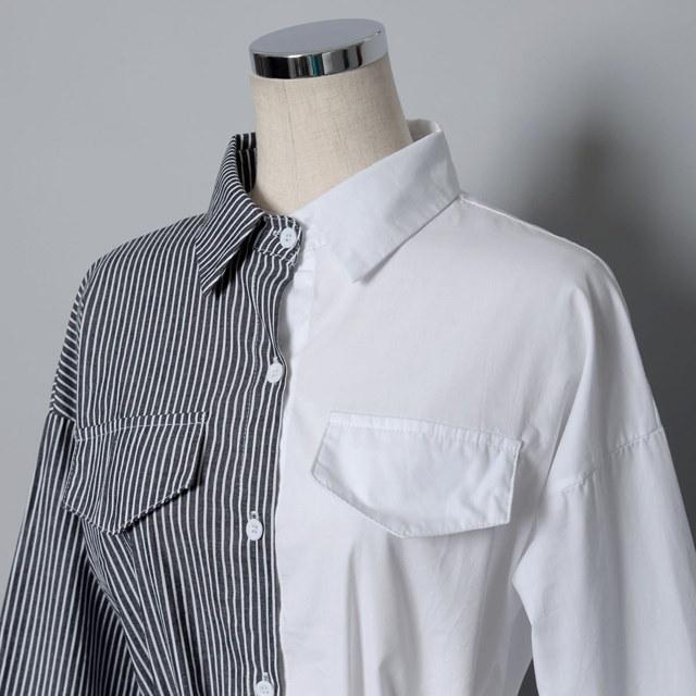 【国内発送】リボンベルト付き切り替えストライプロングシャツ