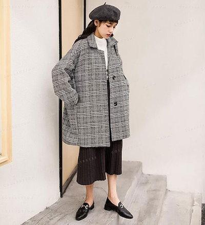 Lemonshop(レモンショッピング)ウールコート ロングコート アウター 厚手 チェック柄 冬服 中綿入り 暖かい