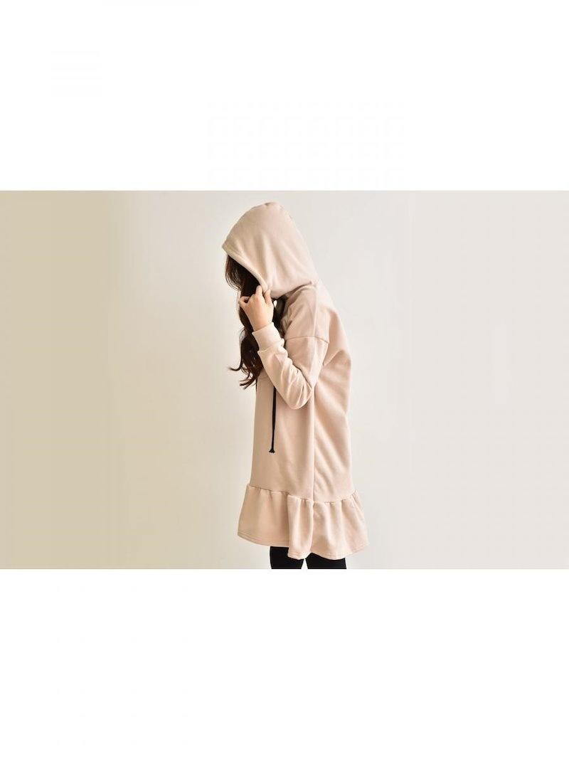 【送料無料】ワンピSALE|楽ちん!デイリーコーデに役立つスウェットワンピ☆スウェットワンピ トレーナー スウェット プルオーバー tシャツワンピース 裾フリル 冬 オーバーサイズ 大きいサイズ フー