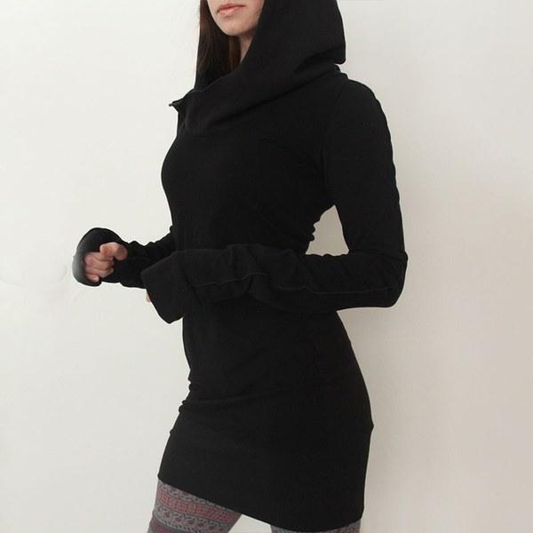 女性フード付きフーディースウェットレディースボディコンパーカープルオーバーチュニックジャンパードレス