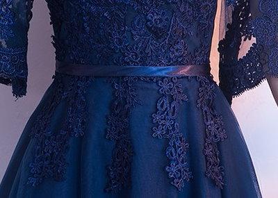 韓国 お取り寄せ品 パーティードレス イブニングドレス ネイビー レース ロングドレス Aライン韓国 オルチャン