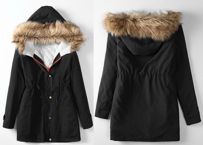 女性のスリム冬の綿パッド入りのジャケットファッションコート毛皮の襟