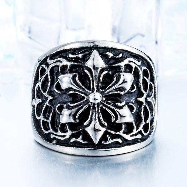 ファッションパンクリングチタン鋼レトロリング