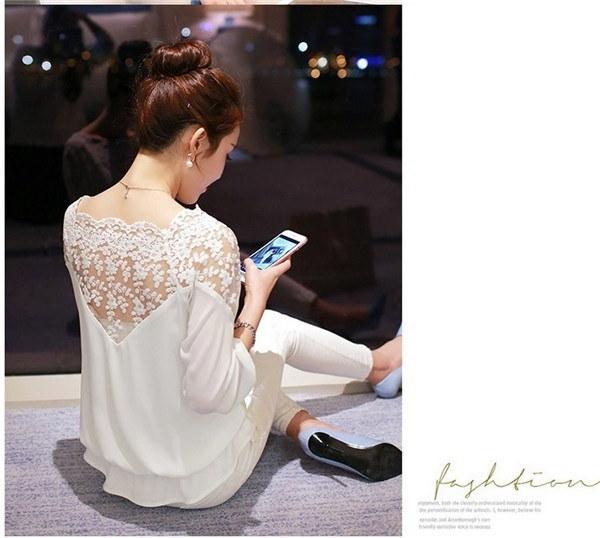 Chiffon Blouse Women Lace Shirt Tops Plus Size Lace Blouses Blusas Femininas