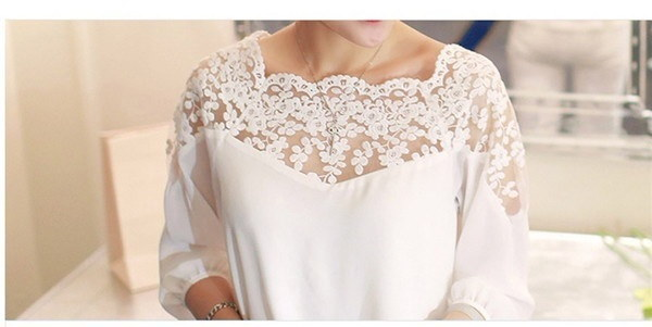 Chiffon Blouse Women Lace Shirt Tops Plus Size Lace Blouses Blusas Femininas